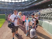 Breaking in the warning track at Sun Trust