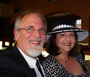 my wife and I at a recent wedding
