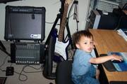 My son in edit office (studio)