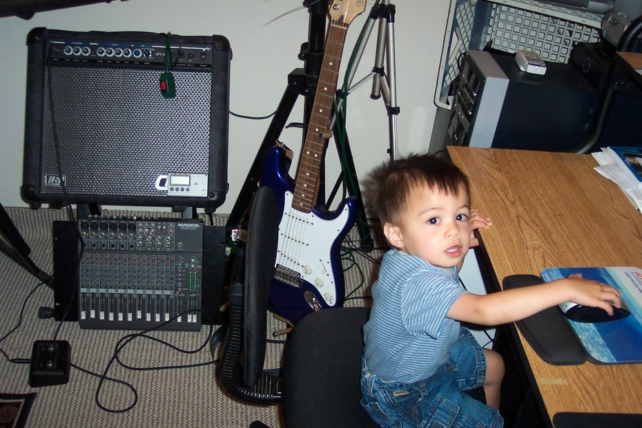 My son in edit office (studio)