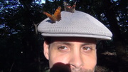Two butterflies on my hat 7-26-13