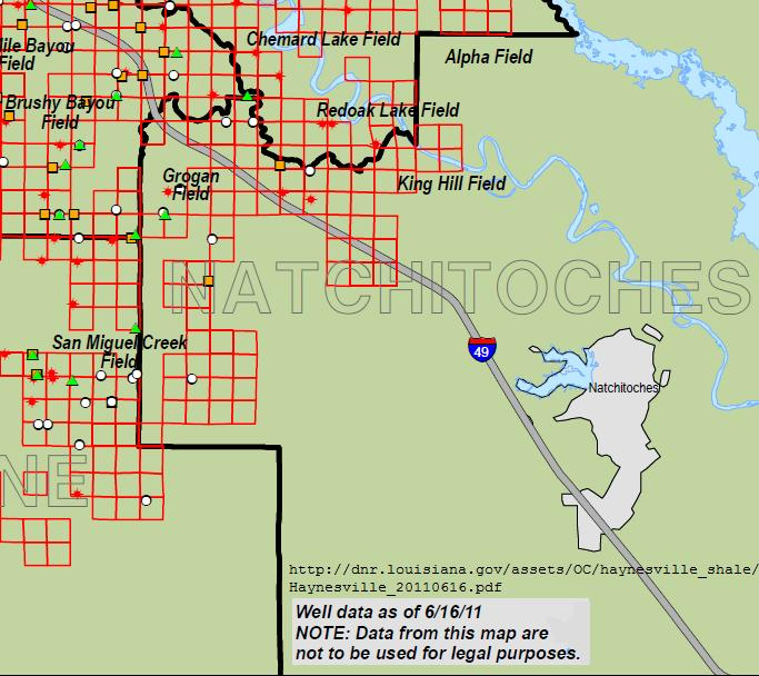 Map of southeast portion of the Hayneville Shale gas play as of June 16, 2011