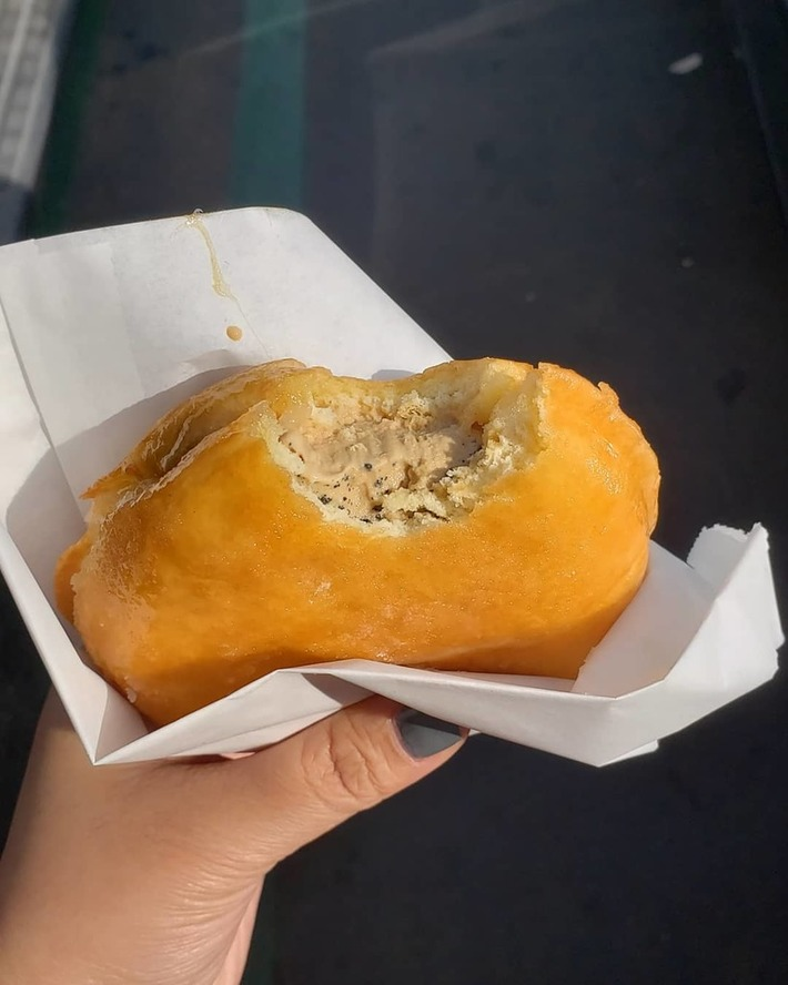 Yummy milky bun from Afters with Vietnamese Coffee ice cream and oreo pieces