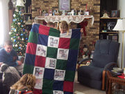 Kayla and her memory quilt