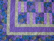 Purple and Green quilt close up 1