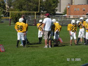 Merton coaching his son's football team