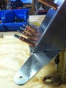 Rudder spar, bottom rib, horn