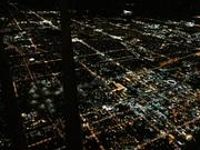 Night flight over the city