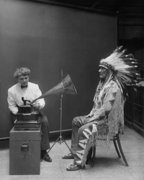 Ethnomusicologist Frances Densmore recording the music of a Blackfoot chief onto a phonograph, 1916