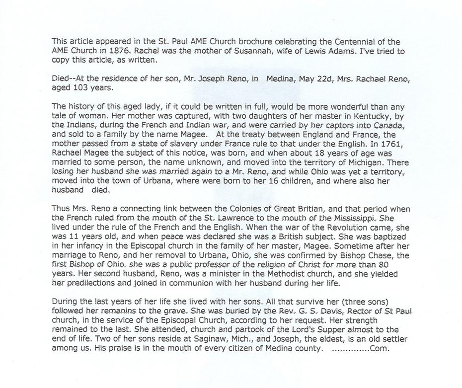 Obituary/Eulogy - Rachel (McKee) Reno