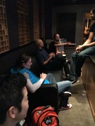Group huddle in the studio