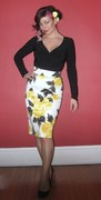 Gia top ~Pinup Couture pencil skirt in yellow Rose print