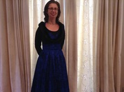 Blue flocked Grace size L with Collectif shrug