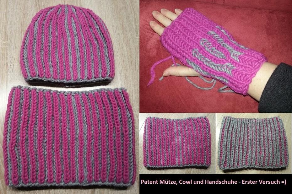 Patent Mütze, Cowl und Handschuhe