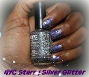 Starry Purple Glitter Nails
