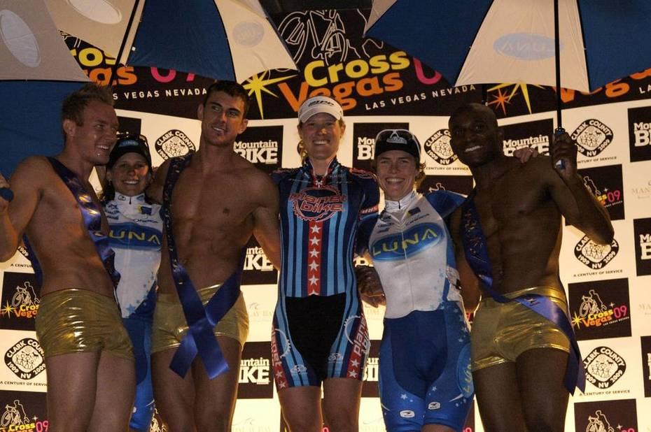 Katie Compton on the podium at Cross Vegas