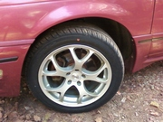 "17"" Alloys, with P225/50 performance tires, really show off the new 96' Big Brake upgrade."