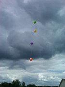 ballons above model