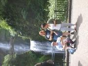 Joe, Daughters, and Dog in front of Multnomah Falls