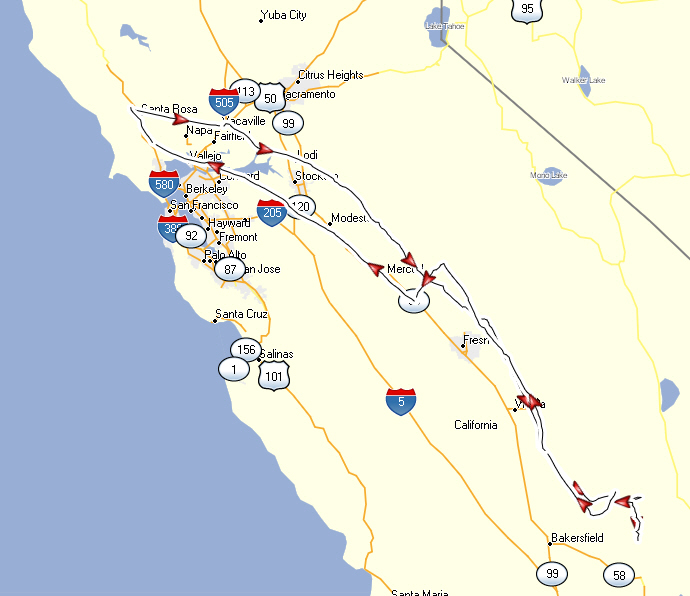 The Route some of us flew from Santa Rosa to Kern Valley and back