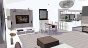 Návrh interiéru obývačky s kuchyňou