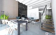 Luxusný interiér domu - kuchyňa, obývačka, jedáleň, spálňa, vstup.