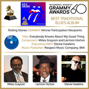 """60th Annual GRAMMY Awards honor Miles Grayson, Lermon Horton, and Executive/A&R Stevie Hawkins, as participating recipients in Rolling Stones """"Blue & Lonesome"""" Album win"""
