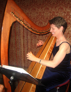Harpist Anne Roos Laughing at the Recording Academy Honors