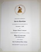2017 Recording Academy Award Certificate