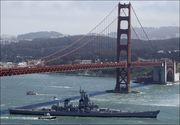 The IOWA's Final Voyage under the Golden Gate Bridge