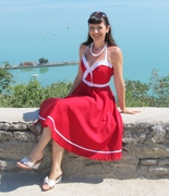 Red Sailor Swing Dress size S