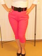 Deadly Dames Capri Pants in Hot Pink Bengaline