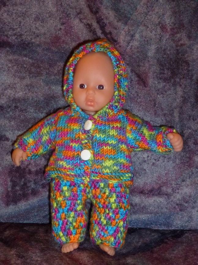 Kapuzenjacke gestrickt für Mini Babyborn 21 cm