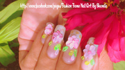 3D Flower Nail Art In Natural Nails