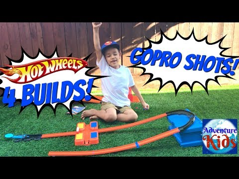 Hotwheels Stunt Box Toy Review with 4 Hotwheels Track Builds!