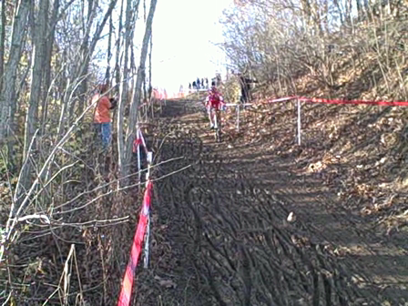 Todd Wells leading the descent of the infamous Mt. Krumpet downhill,  Jingle Cross 2009 Day 2