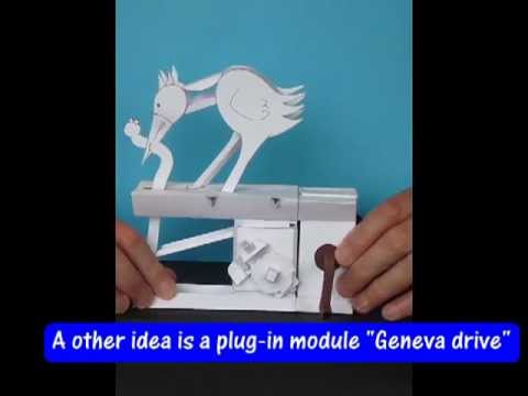 "Early bird, paper model with ""Geneva drive"""