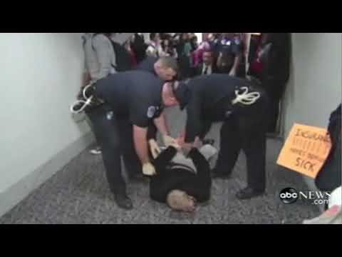 Healthcare Message to congress  9 arrested at Senator Lieberman's office 11/7 part 2 ABC News