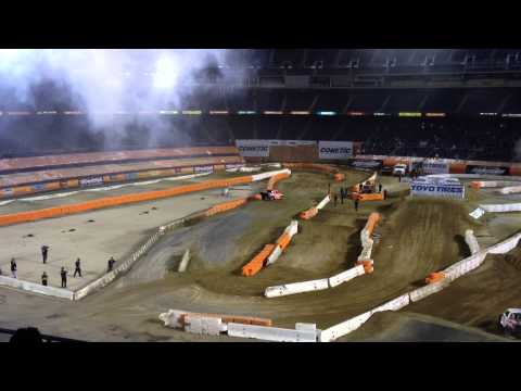Last lap of San Diego Stadium Super Trucks Round 5 and Victory Lap by Winner Robby Gordon