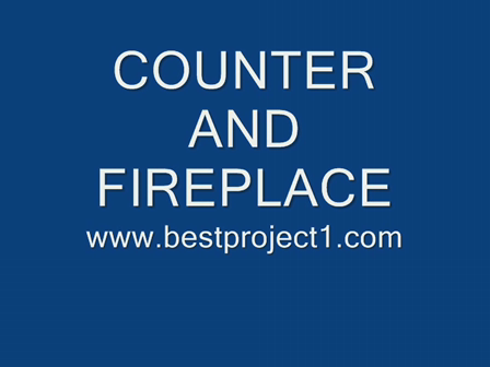 conter and fireplace