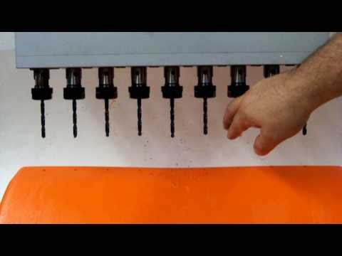 Slow RPM Plastic Drilling, Nine Holes at Once on Drill Press