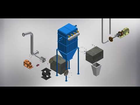 Mechanical 3D modeling Animation - Dust Collector Assemble