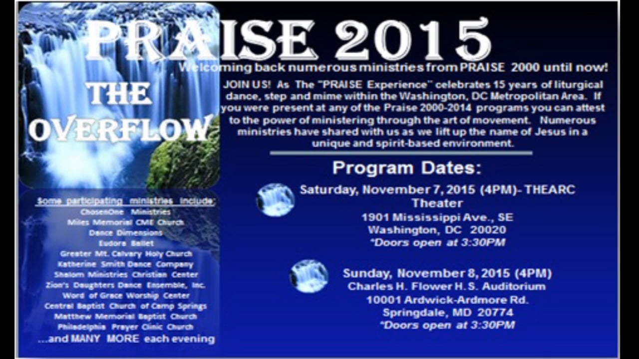 "PRAISE 2015 ""The Overflow""- November7-8, 2015"
