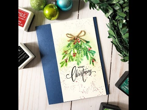 Card Tutorial: Simple Holiday Watercolor Card with Distress Inks + Gina K Designs