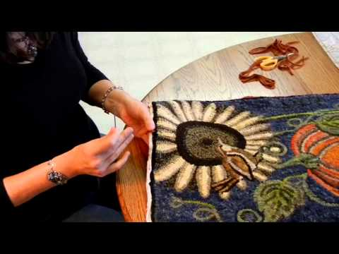 Binding a Rug with Wool Strips