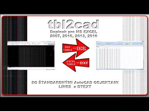 tbl2cad - doplnok excelu pre import/export tabuliek z/do DXF