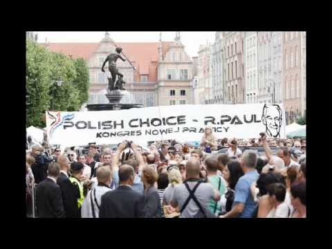 Huge Ron Paul Banner Greeting Romney in Poland