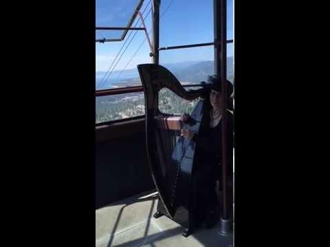 Live Celtic Harp Music...On An Aerial Tram!