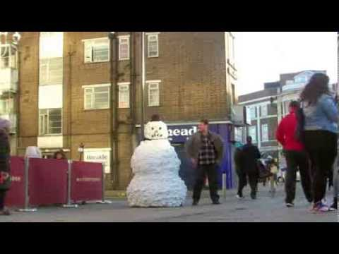 Scary Snowman Europe London Wood Green