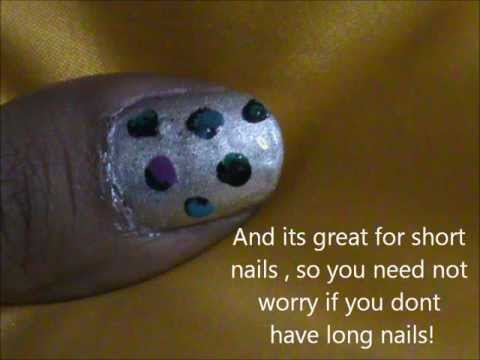 Cute Shimmery very easy nail design for short nails- polka dots nail design for beginners